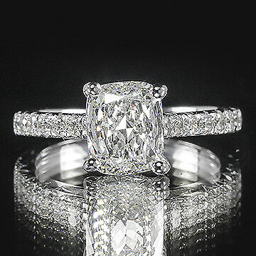 2.03ct GIA Cushion French Pave Set Diamond Engagement Ring D/VS2 (2141693566)