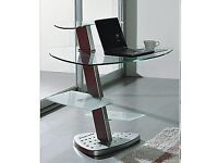 Black Smoked Glass Computer Desk With Black and Chrome Office Chair (Same as Picture but in Black)