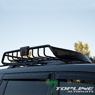 Outrageous ROOF RACK BASKET CAR TOP CARGO BAGGAGE CARRIER STORAGE w/WIND FAIRING T18
