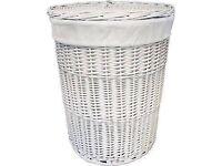 large john lewis white wicker linen/clothes basket vgc