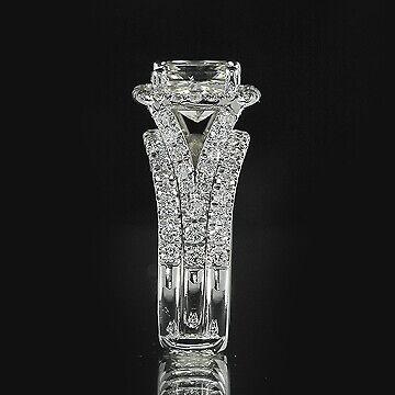 3ct GIA Cushion 18K Gold Engagement & Ring Guard Bridal Set E/VS1(2111712731) 2