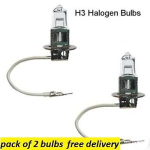 2 X  H3 HALOGEN HEADLAMP /SPOT LAMP/ FOG LAMP BULB 453 12V 55W PK22s 11.5mm