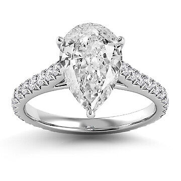 2.31ct GIA French Cut Pave Pear Diamond Engagement Ring E/SI2 (1146489396)