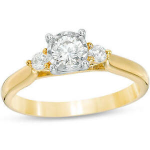 Past Present Future in 10K Gold Engagement Ring