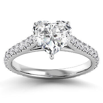 2.13ct GIA French Cut Pave Heart Diamond Engagement Ring G/SI2 (6137869189)