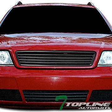 Topline For 1998-2001 Audi A6 Horizontal Front Hood Bumper Grill Grille - Black