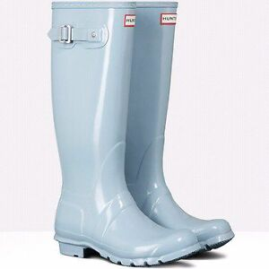 Hunter Boots Tall Gloss Porcelain Blue Women's Size 10 New