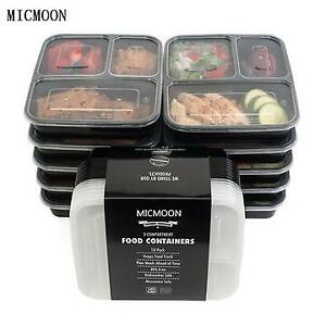 3 Compartment Food Storage Containers with Lids