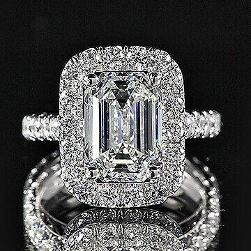 3.55ct GIA Emerald 18K White Halo Eternity Engagement Ring E/SI1 (2151530275)