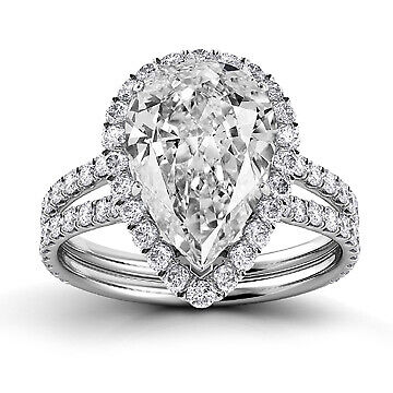 2.5ct GIA Pave Set Halo Pear Diamond Engagement Ring H/SI2 (2158568232)