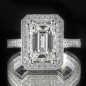 3.07ct GIA Emerald Pave Diamond Halo Engagement Ring 18K Gold F/VS2 (1152678156)