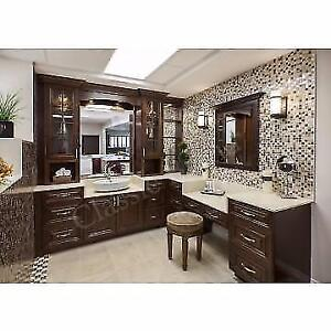 Solid Maple Kitchen & Bath Cabinets 50% OFF, Granite/Quartz Countertop From $45 Installed Free Sinks
