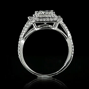 2.05ct GIA Princess Cross Shank Diamond Pave Engagement Ring D/VS2 (1152301347) 1