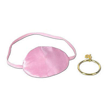 Pink Pirate Eye Patch with Plastic Gold Ear