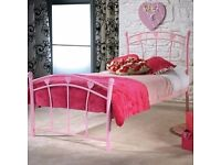 Candy pink girls single bed in as new condition