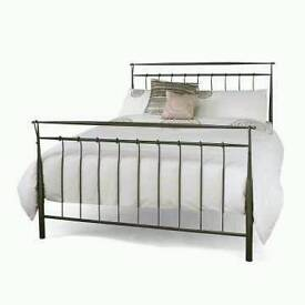 Black metal double scrole bed cheap 😁