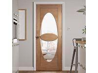 "Funky super contemporary oak internal oval Italian design glazed glass doors 30""x78"" / 27""x78"""
