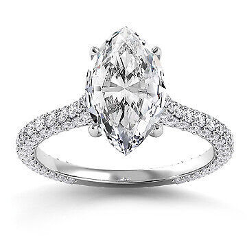 3.01ct GIA Vintage Pave Marquise Diamond Engagement Ring D/VS2 (2145045716)