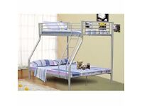 Trio Sleeper Metal Bunk Bed Good Deal with Mattress Available In White And Silver