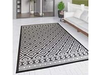 Black and White Diamond Outdoor Rug, 160 x 220cm - Other Sizes Available - Limited Stock