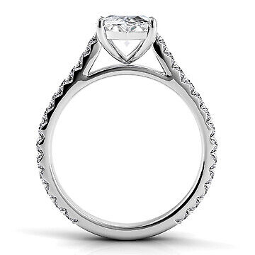 2.34ct GIA French Cut Pave Marquise Diamond Engagement Ring D/SI2 (16241981) 2