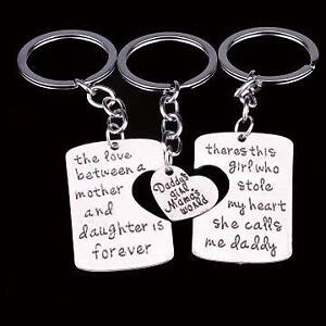 Daddy Mother Daughter Family Keyrings - NEW Gateshead Lake Macquarie Area Preview