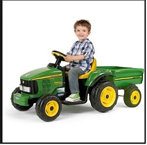 John Deere Power Pull with Trailer Rechargeable Battery Powered