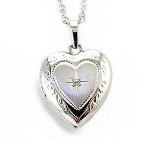 Favorite! 100% 14K White Gold Heart Shape Locket with Genuine Diamond Accent
