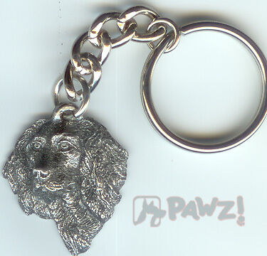 BOYKIN SPANIEL Dog Head Pewter Keychain Key Chain NEW