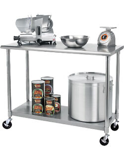 Trinity stainless steel commercial kitchen prep table rolling locking wheels ebay - Commercial kitchen tables on wheels ...