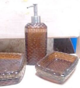 Bathroom Accessories - Brown Glass – 3 Piece Set