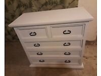 White solid wood shabby chic drawers lots of storage space very good deep drawers and very solid