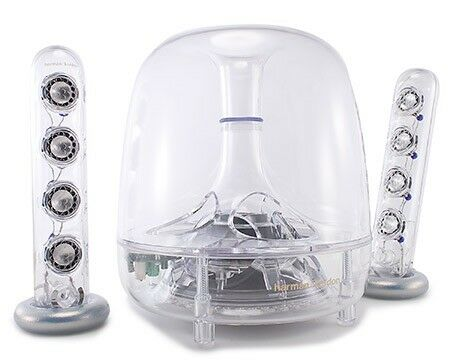 "Harman Kardon Soundsticks with two satellites each with 4 speakers and a bass box with 6"" speaker."