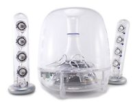 """Harman Kardon Soundsticks with two satellites each with 4 speakers and a bass box with 6"""" speaker."""