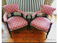 Fine pair of ebonised Victorian parlour chairs