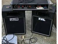 Vintage PA AMP Raven Rebel and 2 FAL Vintage speakers working condition