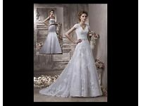 BENJAMIN ROBERTS 2302 IVORY LACE WEDDING DRESS DRY CLEANED WOULD FIT SIZE 14/16 IMMACULATE CONDITION