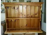 Cottage Style Wall Hung Kitchen Shelving Unit in Solid Pine