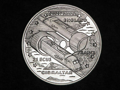1993 gibraltar large silver proof 21 ecu tunnel train