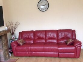 Red Leather corner sofa SCS