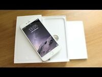 APPLE IPHONE 6 PLUS 64GB, SILVER/WHITE, UNLOCKED TO O2, GIFF GAFF, TESCO, BOXED IN MINT CONDITION