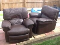 2 Single Armchairs (Brown Leather) recliner Sofas