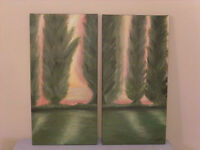 Acrylic wall art painting on 2 12 x 24 canvases: Warm light