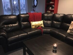 Used black leather sectional sofa