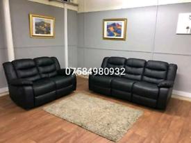 Beautiful brand New black leather 3+2 seater sofa