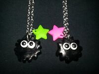 Soot Gremlins from (Totoro) and cheshire cat necklaces