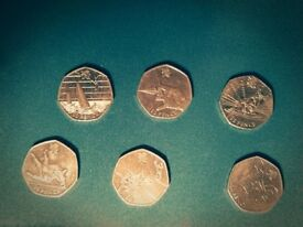6 Olympic 50 pence collectables Judo, Wrestling, Basketball, Archery, Sailing, Weightlifting