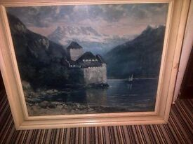 The Chateau De Chillon 1875 by Gustave Courbet Art Print on Canvas