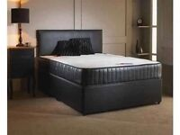 Leather 4FT6 Double Bed Set + 10 inch Memory Foam Mattress + Headboard Inc 24-48 Hour Delivery