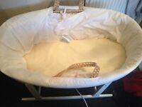 White baby moses basket